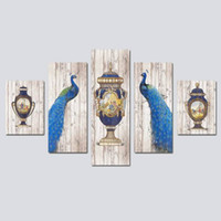 Wholesale peacock oil painting modern - 5PCS Wood Framed Modern European Style Peacock Bottle Lnkjet Printing Oil Canvas Painting Home Wall Decoration