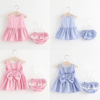 Wholesale Summer Kids Lace Backless Dress - Baby girls Striped outfits children Bow Backless Dress top+ruffle lace pp shorts 2pcs set 2018 summer suit Boutique kids Clothing Sets C4028