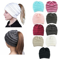 Wholesale Woolen Caps For Men - Fashion Warm Woolen Stylish Knitted Ponytail Beanies Hat For Women Stretch Soft Crochet Slouchy Skullies Caps