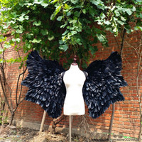 Wholesale black cosplay wings online - Creative black Devil wings for cosplay Game costumes Vehicle exhibition props fairy wings Bar Halloween deco props fast