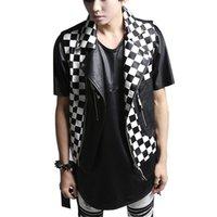 Wholesale White Duck Costume - Fashion Men Slim Fit Vests PU Leather Waistcoat Punk Rock Motorcycle Vest Male Stage Costume MJ24