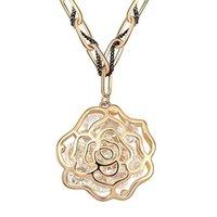 österreichische kristall pullover halskette großhandel-Retro Vintage Mode-Rosen-Blumen-lange Strickjacke-Ketten-Halskette für Frauen österreichische Kristallanhänger-Halsketten Dubai Schmuck 6659