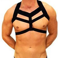 ingrosso costumi super elastici-Super Hot Men Lingerie Body Chest Harness Bondage Costume Halter Neck Nightclub Performance Party Scava fuori l'abbigliamento elastico
