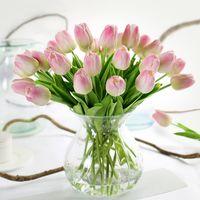 ingrosso bouquet di nozze tulipani-Wedding Luyue 31pcs Tulip Fiori artificiali Pu Decorazioni per matrimoni Simulazione Bouquet da sposa Calla Real Touch Flores Para Casa Giardino Corona