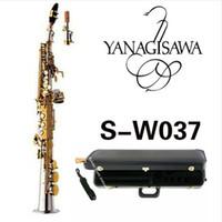 sax c achat en gros de-Nouvelle arrivée YANAGISAWA W037 Soprano BSaxophone en laiton plaqué argent, clé en or B plat Sax avec embout buccal Livraison gratuite
