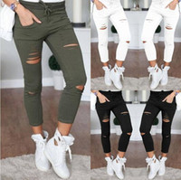 Wholesale skinny tight women jeans - Brand Designer - Women Skinny Ripped Holes Jeans High Waist Punk Pants Skinny Slim Tight Lace Up Gothic Leggings Trousers OOA3459