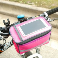 Wholesale Bicycle Bags Handlebar - Square Bicycle Handlebar Bag With Clear Touch Screen Window Mobile Phone Pouch High Capacity Waterproof Bike Bags Popular 15xc B