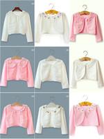 Wholesale Cotton Shrugs - Mix 13 Colors Baby Kids lace cardigan Girls Cotton Pointelle Shrug bolero Shaw Cardigans Coats Outwear Kids Clothing wear