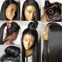 afrika özgür sentetik saç toptan satış-İpeksi Düz Doğal Siyah Uzun Sentetik Dantel Ön Peruk Tutkalsız 1B # 2 # Renk Isıya Dayanıklı Saç Peruk / Ücretsiz Kargo Afrika Amerikan Peruk