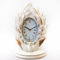 стол часы бесплатная доставка оптовых-TUDA Бесплатная доставка 10 дюймов элегантный Павлин резные смолы Настольные часы классический стиль Настольные часы Exquisited Home Decor