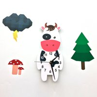 Wholesale Arabic Cartoon - Funlife 3D Cows Pattern European Style Arabic Numerals Design High Resolution Laser Cutting Never Fade Wall Clock SWC005