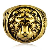 18k gold schädel ringe großhandel-Hip Hop Herren Edelstahl Tierkopf Biker Ringe Skelett Schmuck Gold Silber Löwe Schädel Siegelring für Herren