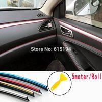iç araç kapısı trim toptan satış-5 Metre Araba Iç trim sticker şerit çıkartması stripes otomobil kalıp trim Döşeme Dekorasyon Hattı Çıkartmaları Trim oto Kapı Dashboard Hava Outlet stickre