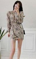 ingrosso vestito coreano del leopardo-Versione coreana dell'ultimo vestito autunno in pizzo a maniche lunghe in leopardo moda autunno