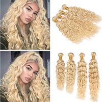 ingrosso tessuto indiano biondo ondulato-Bleach Blonde Virgin Indian Water Wave Capelli umani 4 Bundles Deals 613 Biondo Wet and Wavy Hair Weave Wext Estensioni 400g Lunghezza Mista