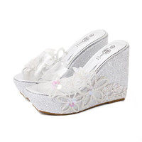 Wholesale Transparent Platform Heels - Glitter Sequined Appliques PVC Transparent Shoes Silver Wedding Shoes Women High Heel Platform Wedge Slipper Sandals Size 34 To 40