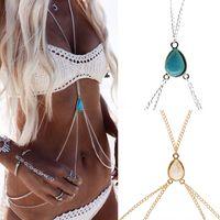 Wholesale Womens Fashion Harness - Womens Sexy Fashion Gold Silver Faux Body Belly Waist Chain Bikini Beach Harness Chains Necklace Jewelry