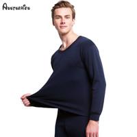 Wholesale Cashmere Long Underwear Men - Free shipping Best quality brand Gray men Thermal underwear cashmere o-neck long johns pantalon termico h16