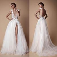 Sexy Backless 2018 Bohemian Boho Berta Wedding Dresses Lace 3D Appliqued A Line Deep V Neck Beach Bridal Gown Tulle Split Side Wedding Dress