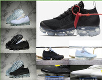 Wholesale mens leather walking shoes - 2018 Vapormax trainers black white For Mens Womens luxury knitting Fashion designer Breathe vapormaxs Athletic Walking Outdoor Casual Shoes