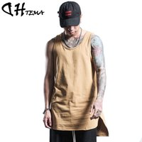 Wholesale Long Yellow Tank Top - Wholesale- DHTEMA Men Summer Hip Hop Extend Long Tank Top Men's White Vest Fashion Swag Sleeveless Cotton Justin Bieber Solid Tops