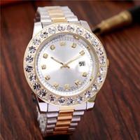 große diamant herrenuhr großhandel-relogio LuxuxMens Marken-Mann-Uhr Big Diamanten Day-Date Marke Edelstahl Ewiger Präsident Automatik Diamant Armbanduhr Uhren
