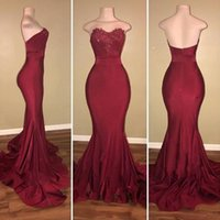 Wholesale Fashion Photo Lighting - New Fashion Burgundy Prom Dresses 2018 Mermaid Sweetheart Backless Appliques Long Evening Gowns Vestidos de fiesta Bridesmaids Dress