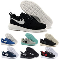 venta de zapatos para correr más bajos al por mayor-Nike Roshe Run Venta caliente Clásica Run Running Shoes hombres mujeres botas bajas negras Ligero Transpirable London Olympic Sports Sneakers Entrenadores tamaño 36-45