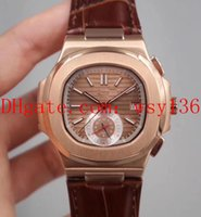 мужские классические кожаные наручные часы оптовых-Роскошный кожаный ремешок Nautilus мужские часы классической серии 40мм 5980R-001 18-каратное розовое золото прозрачные механические автоматические мужские часы
