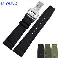 banda de nylon del reloj del ejército al por mayor-20 mm 21 mm 22 mm de lona de nylon reloj de cuero genuino banda negro ejército verde reloj accesorios correa