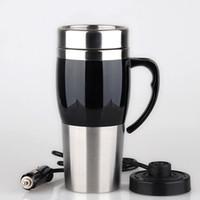 elektrisch beheizte tasse großhandel-Kreatives Vakuumheizungs-Schalen-Fahrzeug-Wasserkocher Thermal Heater Cups Edelstahl-Doppeldeckwasser-Flaschen mit multi Farbe 46yz jj