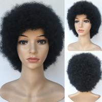 ingrosso parrucche di moda africani americane-Moda capelli corti neri Parrucche sintetiche ondulate BOB Pixiec capelli tagliati con scoppi afroamericani per le donne nere in magazzino