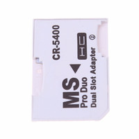 Wholesale memory stick micro sd adapter - High Quality Dual Micro SD TF to Memory Stick MS Pro Duo Adapter CR-5400 CR5400 For PSP Card Dual 2 Slot Adapter