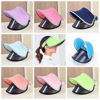 Wholesale visor skull hat for sale - 8styles solid Double Hats Visor Sun Hat Female Summer Sun Empty Top Cap UV Sun Hat Woman Beach Hat FFA346