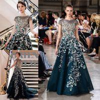 4b4cda04e1a 2018 Georges Hobeika Luxury Green A Line Organza Prom Dresses Scoop Short  Sleeve Vestidos de fiesta Flower Sequined evening dresses
