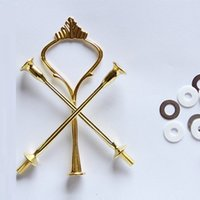 Wholesale Metal Fruit Stand - red gold silver 3 tier fruit chocolate cake stand centre handle cake stand fitting for wedding party decoration mixed color O#A01
