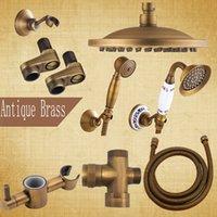 válvulas de bronze antigo venda por atacado-Frete Grátis Antique Brass Faucet Acessório para Chuveiro Set 8