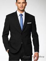 ingrosso tuxedos dello sposo di strisce nere-Moda 2 PZ Nero Stripes Suit Uomo Smoking Slim Fit 2 Pezzo Giacca Groom Blazer Prom Abiti da sposa (Jacket + Pants)