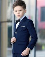 terno de pedaço de meninos venda por atacado-Moda Azul Marinho Menino Formal Wear Lapela Boy Kid Vestuário Crianças Ternos De Três Peças Meninos Ternos Para O Casamento (Jaqueta + Calça + Camisas)