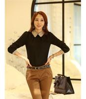 многоцветные блузки оптовых-Fashion Women Korean Lady Long Sleeve Shirt Lantern Sleeve Chiffon Blouse Cloting Full Multi Color Ol Blouse Elegant Suits