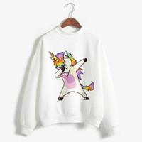 kedi mektupları toptan satış-36 stilleri unicorn kazak yeni moda hayvan baskı kedi zebra harfler artı kadife uzun kollu kazak giyim
