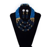 ingrosso collana blu costume-Perle di nozze nigeriane blu scuro Set di gioielli africani Collana di cristallo nuziale Set India Perle di corallo Set di gioielli per le donne