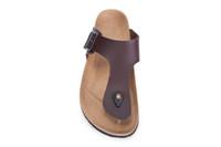 1810195a22199a Männer und Frauen Slide Sandale Schnalle Slip On Slippers Comfort Cork  Fußbett Frauen Gizeh Cork Thong Ankle Schnalle Leder braun Sandale