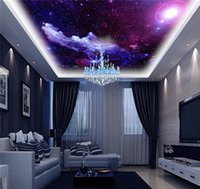 Wholesale Chinese Wedding Beds - Purple Galaxy Wallpaper Mural Photo Giant Wall Decor Paper Poster Charming Galaxies For Children Living Room BED MURALS NEW Free Shipping