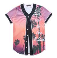 karakter mayo toptan satış-Toptan Ücretsiz Kargo Erkekler Kadınlar T-shirt Unisex 3d Dijital Baskı Karakterleri Güzel Beyzbol Forması Yaz Üstleri Düğme Gömlek