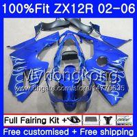 Wholesale zx12r blue online - Injection For KAWASAKI NINJA ZX1200 ZX R HM ZX R R CC Silver blue hot ZX12R Fairing