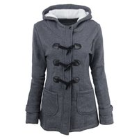 Wholesale canvas jacket lapel for sale - Group buy Autumn winter explosions ladies Hooded blend horn leather buckle midi jacket cotton coat women with zipper