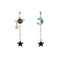 ohrring blauen mond großhandel-2018 neue kreative blaue Universum asymmetrische Ohrringe für Mädchen Ohr Zubehör niedlichen Mond Sterne Drop Pendientes Quaste Brincos