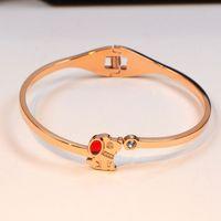 18k gold rubin armbänder großhandel-Klassische Titan Stahl Armband für Frauen Männer Paar Schmuck Welpen Rubinrot Kristall Stein Armreifen Hochzeit Schmuck