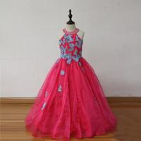 fuşya pembe kız elbiseleri toptan satış-% 100 Gerçek Görüntü! Fuşya Pembe Organze Kızlar Pageant elbise Ekip Boyun Aplikler Keyhole Geri Çocuk Noel Doğum Günü Partisi Elbiseler